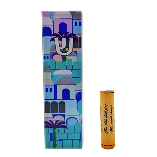 Jerusalem CAR MEZUZAH with Travelers Prayer Scroll Protection Mezuza From Israel Art Judaica (Mezuzah Car)