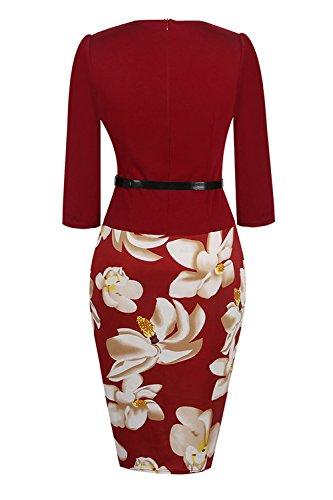 piece Work Business Dress to Women Burgundy Party Bodycon Colorblock Babyonline Wear One IwHzS4qx