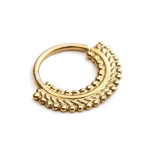 Nose Ring Hoop: Tribal Gold 14kt Nose Jewelry in 18 Gauge by Studio Meme