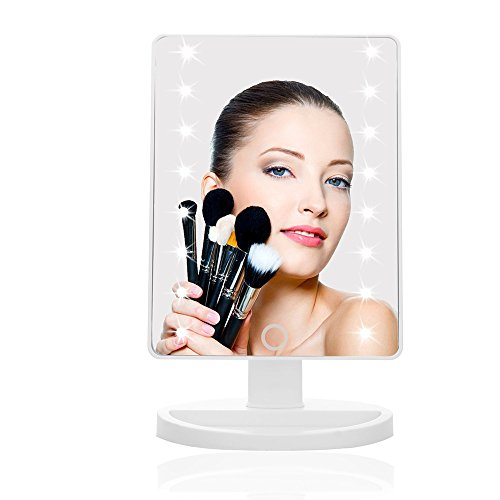 Cosprof LED Lighted Makeup Mirror,Touch Screen 16 LED Lighted Vanity Mirrors with Removable 10x Magnifying Mirrors,180 & 360 Degree Free Rotation Table Countertop Cosmetic Bathroom Mirror by Cosprof (Image #3)