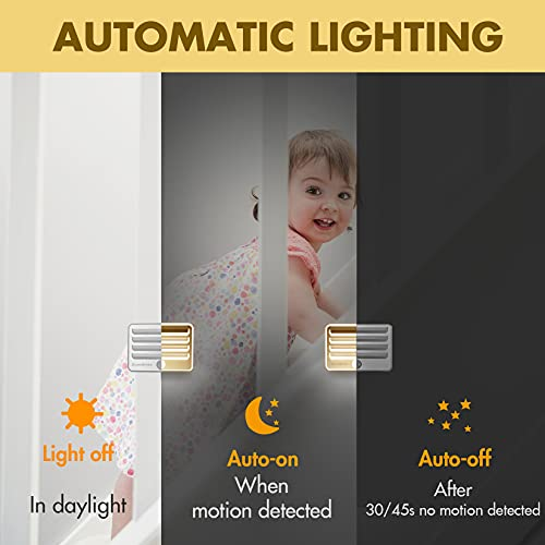 EverBrite Motion Sensor Night Lights, LED Soft Warm Light, Battery Powered Auto Night Lights, Stick-On Night Light for Bedroom, Bathroom, Stair, Closet, 9 AA Batteries Included(3 Pack)