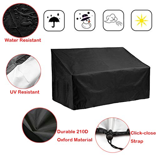 4 Garden Seater (Silvotek 4 Seater Garden Bench Cover - Waterproof Outdoor Bench Cover with Durable 210D Oxford Material+ Extra PVC Coating, Patio Bench Cover - 75