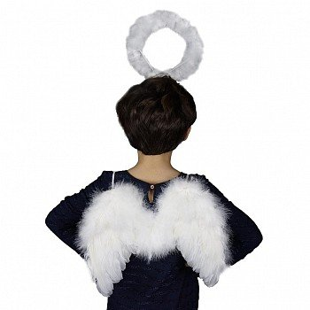 Zucker Small Angel Wing Costume- White Wings & Halo Halloween Kids Feather Cosplay