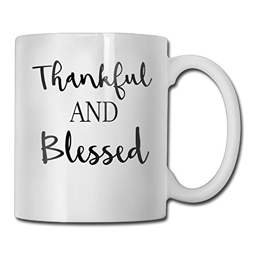 Thankful And Blessed Personalized Coffee Mug Add Pictures, Logo, Or Text To Custom Mugs Cups For Gift White (Mug Coffee Sided)
