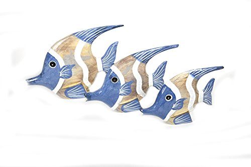 BEAUTIFUL UNIQUE SET OF 3 WOODEN FISH HAND CARVED STATUE SCULPTURE ART