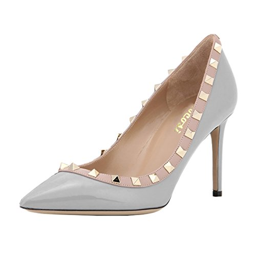 VOCOSI patent High Fashion Rivets Toe Shoes Grey Studs Sexy Pumps Heels Stilettos Women's Pointy aOSpw6qar