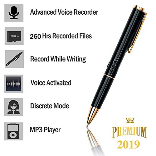 [TC] 16GB Digital Voice Recorder for Students - [Bonus Value] Easy to Use - Voice Activated Mini Recorder- Long Battery Life - MP3 Playback On The Go- Ultra Light - Durable (Best Hidden Voice Recorder)