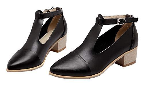 Tacón Zapatos Sólido Mujeres Aalardom Tacón De Medio Pu Tsmdh008035 Hebilla Con Negro qIzw0zd