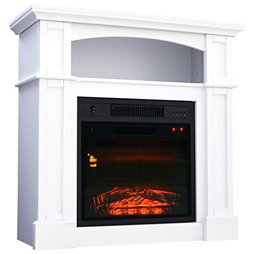 HOMCOM 32″ 1500W Freestanding Full Frame Electric Fireplace Stove Heater Portable with Remote Control – White Review