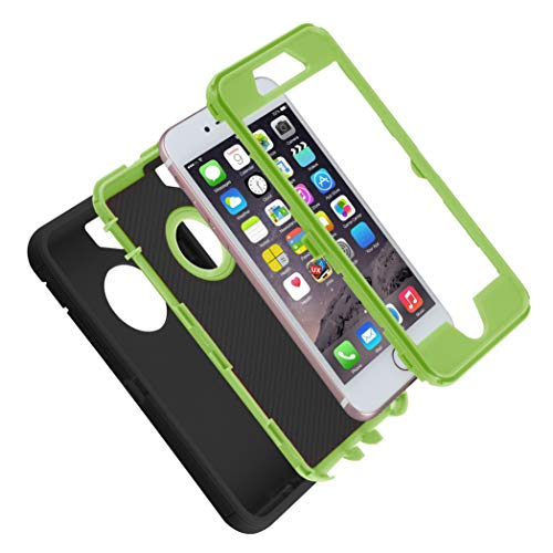 Co-Goldguard Case for iPhone 7/8, [Heavy Duty] 3 in 1 Built-in Screen Protector Cover Dust-Proof Shockproof Drop-Proof Scratch-Resistant Shell for Apple iPhone 7 4.7 inch,Black&Green