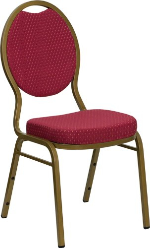 Flash Furniture HERCULES Series Teardrop Back Stacking Banquet Chair in Burgundy Patterned Fabric - Gold Frame by Flash Furniture