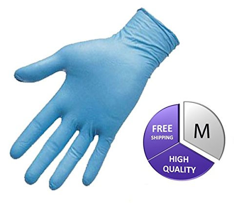 Medical Grade Nitrile Powder Free Exam Glove, 8 Mil, Medium, Blue (4500 Count) by PSBM by PackagingSuppliesByMail