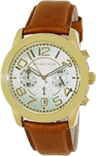 Michael Kors Mercer Champagne Dial Brown Leather Ladies Watch MK2251
