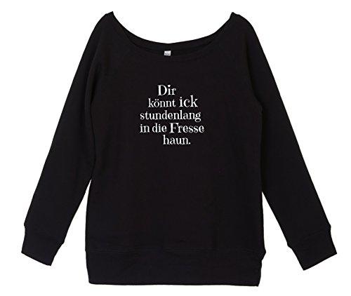 Winter Sweater Damen mit coolem Berlin Spruch - Fresse - vom Label SPREEklamotte / Sweatshirt Langarm / schulterfrei u-boot-ausschnitt Frauen , Pullover - schwarz S