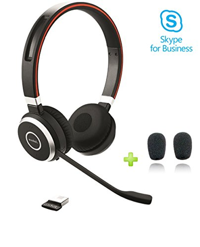Jabra Evolve 65 Duo MS Bluetooth Headset USB Bundle | Microsoft Certified | NFC, Windows PC, MAC, Smartphone, Streaming Music, Skype, IP Communications | Includes Bonus Cushions, 6599-823-309-C-NA by Global Teck