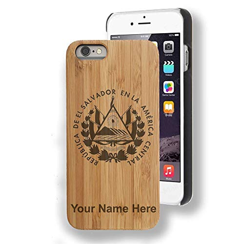 Bamboo case Compatible with iPhone 6 and iPhone 6s, Flag of El Salvador, Personalized Engraving - Wood Elle