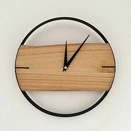 Nordic Solid Wood Personality Modern Minimalist Creative Clock, Metal Log Color