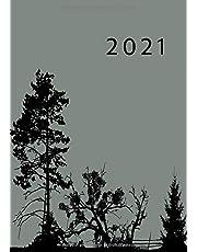 2021: Agenda Semainier A5 | Planificateur Hebdomadaire Et Mensuel | 1 Semaine Sur 2 Pages | Weekly Planner Scolaire Journalier | Organiseur Calendrier 12 Mois | Arbre