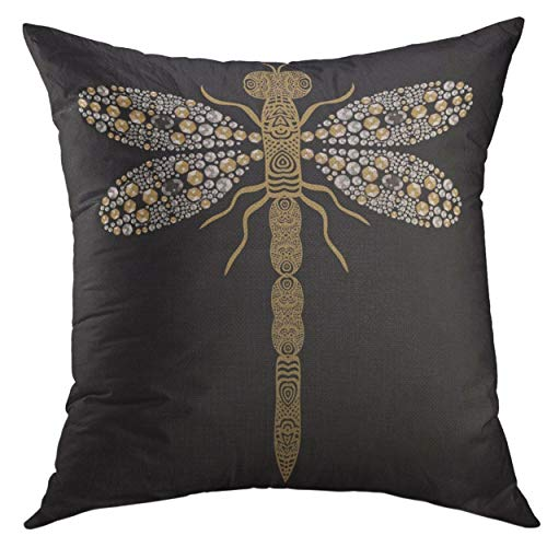 (Mugod Pillow Cases Beautiful of Flying Dragonfly Shiny Gold Silver Black Precious Rhinestones Throw Pillow Cover for Men Women Girl Cushion Cover 20x20 inch)