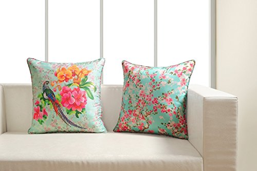 - Digitally Printed Bird & Cherry Blossom Cushion Covers - Faux Silk Fabric - Reversible - 18