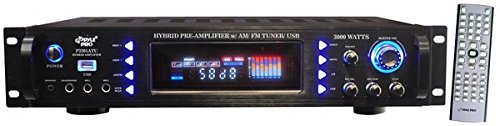 4-Channel Home Audio Power Amplifier - 3000 Watt Stereo Receiver w/Speaker Selector, AM FM Radio, USB, Headphone, Microphone Input - Great for Karaoke and Home Entertainment System - Pyle P3201ATU ()