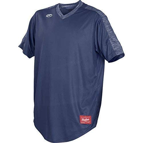 Rawlings Mens Launch Series Adult V-Neck Men's Jersey, Navy, X-Large