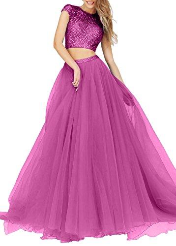 Pink Charmant Abschlussballkeider Bodenlang Damen Tuell Promkleider Pailletten Abendkleider Lila A Linie Zwei teilig OO7rq