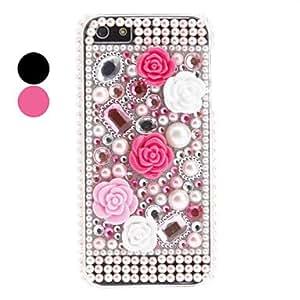 HOR Estuche rígido rhinestones estilo de la flor del diseño para el iphone 5/5s , Rosa
