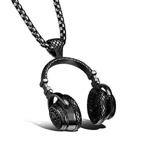 Hometom Men's Necklaces, Stainless Steel Hip Hop Punk Style Microphone Earphone Pendant Necklace For Men (Black)
