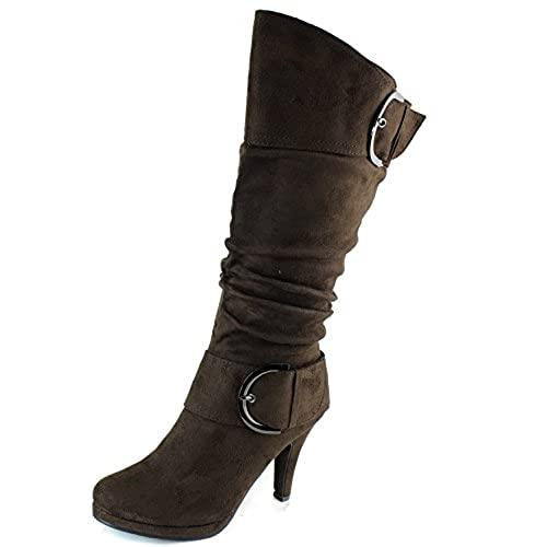 Page30 Brown Two Buckle Fashion Mid-Calf Slouch Faux Suede Folds Body Heel Boots-6.5