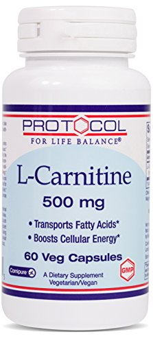 Protocol For Life Balance – L-Carnitine 500 mg – Transports Fatty Acids and Boosts Cellular Energy with Balanced Nutrition for Improved Performance & Recovery – 60 Veg Caps For Sale