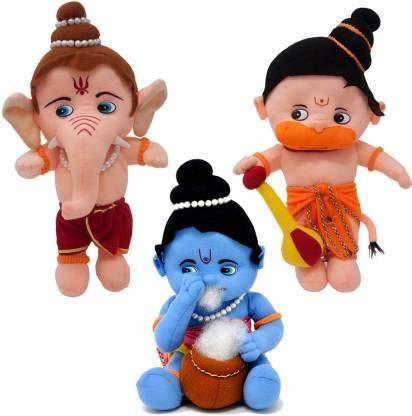 Rockjon Fun Zoo Lord Ganesha, Krishna  amp; Hanuman Hindu Idol Combo Fun Zoo Soft Plush Toy   30 cm Multicolor