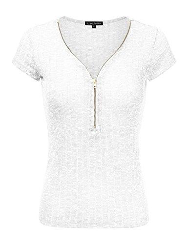 JJ Perfection Women's Solid Ribbed Knit Short Sleeve Zipper Henley Shirt Top WHITE XL