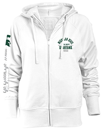 Camp David NCAA Michigan State Spartans Slouch Fit Full Zip Hood, White, ()