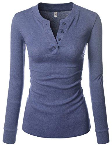 (NEARKIN (NKNKWBT68 Beloved Womens Slim Cut Raw Edge Long Sleeve Henley Tshirts Navy US L(Tag Size XL) )