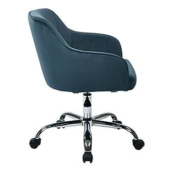 Ave Six Bristol Chrome Base Upholstered Task Chair, Atlantic Blue Velvet