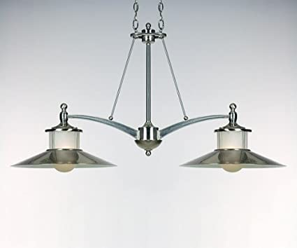 Quoizel NA241BN New England 2 Light Island Light In Brushed Nickel With  Acid Etched Glass