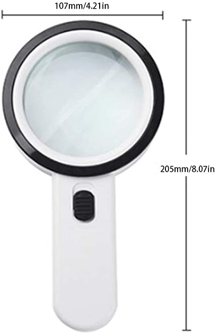 Coins Macular Degeneration SayHia Magnifying Glass with Light 30X Handheld Large Magnifying Glass 12 LED Illuminated Lighted Magnifier for Seniors Reading Hobbies