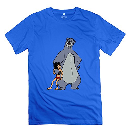 Men's The Jungle Book Mowgli And Baloo O-neck Tee Size XL RoyalBlue