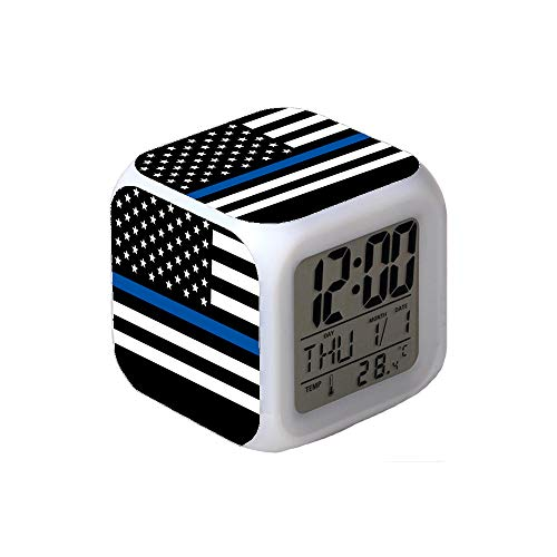 7Colors LED Changing Digital Alarm Clock Desk Thermometer Night Glowing Cube LCD Clock Home Decor Police Thin Blue Line American Flag ()