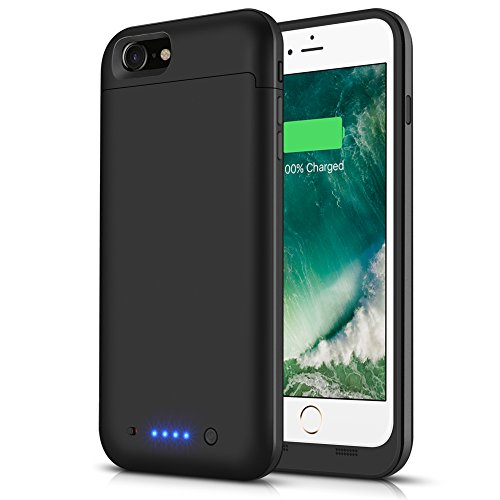iPhone 7/8 Battery Case LCLEBM 4500mAh Portable Charger Case Rechargeable Power Bank Supply Protective iPhone 7 Charging Case iPhone 8 Battery Pack (Black)