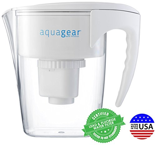 Aquagear Water Filter Pitcher - Fluoride, Place, Chloramine, Chromium-6 Filter - BPA-Free, Clear