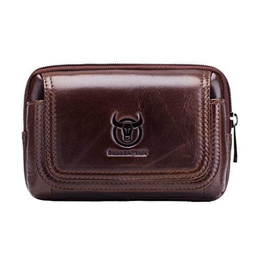 Multipurpose Leather Phone Belt Holster Pouch for Men Loop Flip Horizontal Coin Purse Case Small Travel Waist Bag Pack Brown