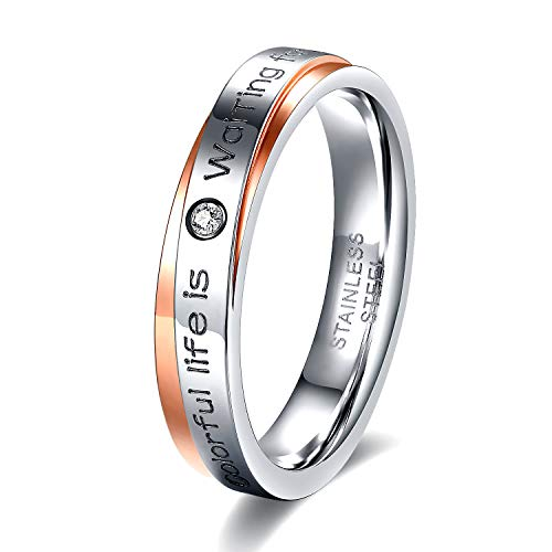 s Steel Rings Two-Tone Crossing Polished Cubic Zirconia Engraved Promise Wedding Band for Women (Rose Gold-Silver Size 9) ()