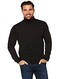 Men's Black Roll Neck Soft Superior Quality Cotton Long-sleeve Tops