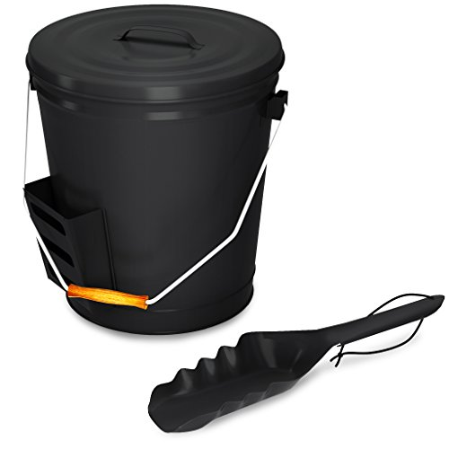 Black Ash Bucket with Lid and Shovel For Fireplace - Great Wood Stove Ashes Accessories (Lid Bucket Black)