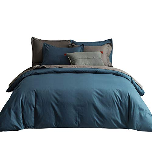 SUSYBAO 2 Pieces Duvet Cover Set 100% Natural Cotton Twin/Single Size 1 Duvet Cover 1 Pillow Sham Teal Blue Luxury Quality Ultra Soft Breathable Durable Lightweight Solid Bedding with Zipper Ties