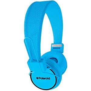 Polaroid PHP8400BL 3.5mm Noise Isolating Foldable Studio Headphones, Powerful Bass Jumbo Padding Organic Fabric Cord, Blue