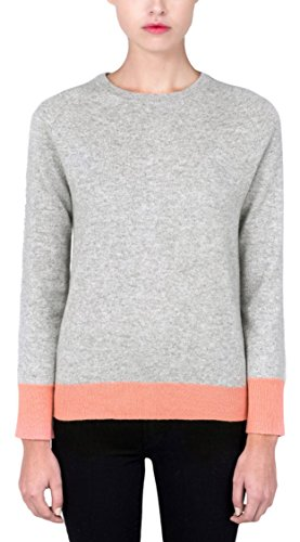 P.CASHMERE NYC 100% Pure Mongolian Cashmere Pullover Crew Neck Knit Sweater For Women and Men (Light Grey/Coral Pink, (Pink Cashmere Crewneck Sweater)