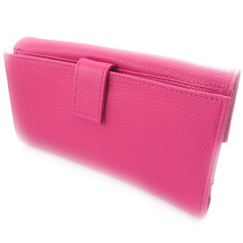 Wallet + checkbook holder leather ''Frandi'' pink candy grainy. by Frandi